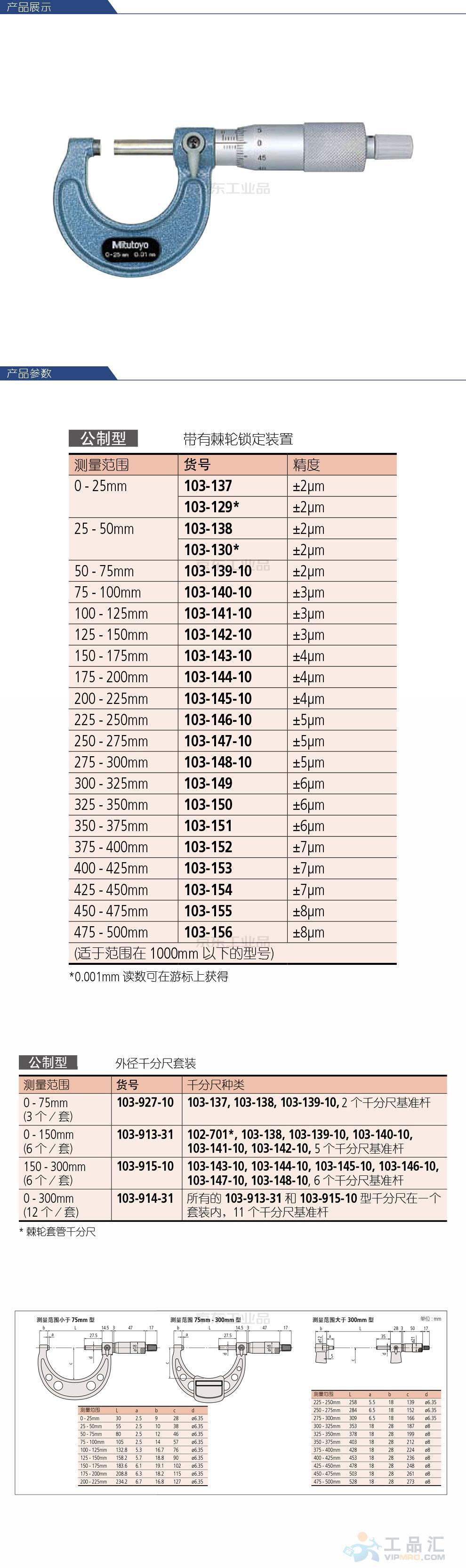 三丰(Mitutoyo) 外径千分尺;103-137