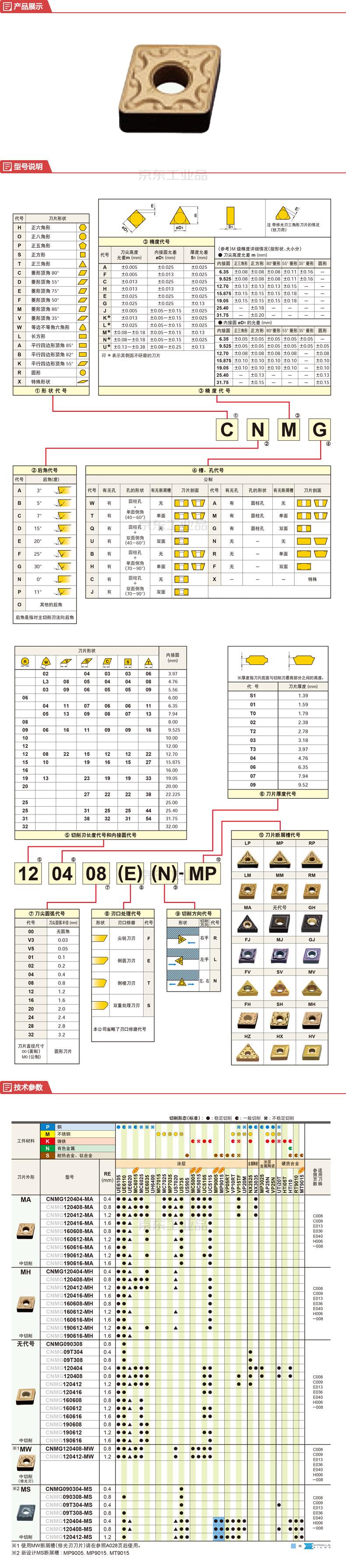 三菱综合材料 车削负角刀片(菱形80°);CNMG120408-MA VP15TF