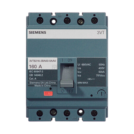 西门子 塑壳断路器;3VT160 N100 TMF F/4P